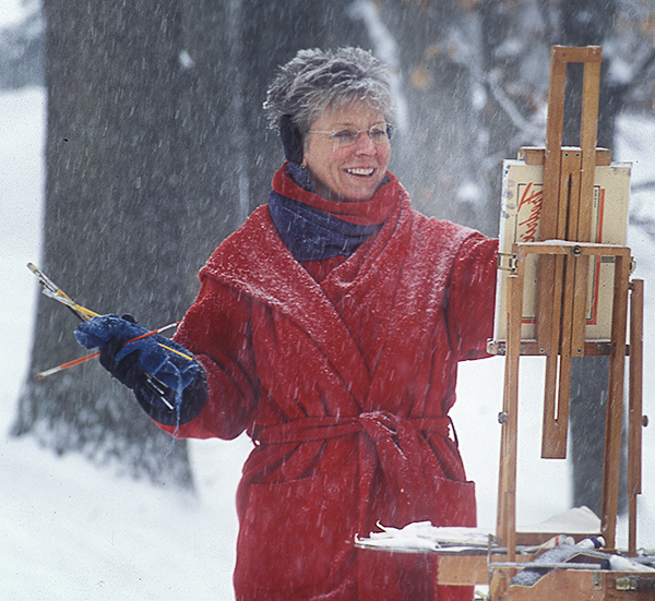 Melody Phaneuf painting in winter snow