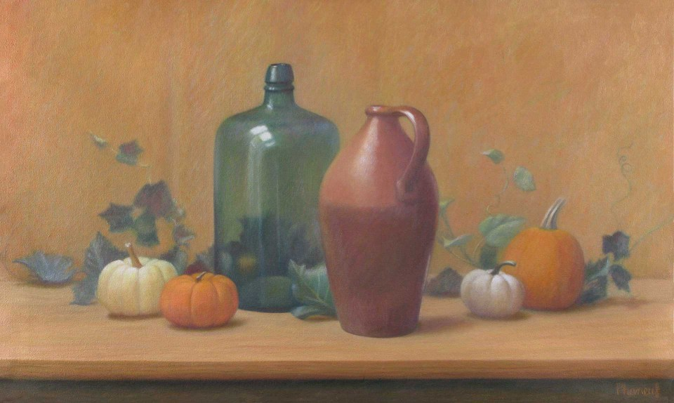 Autumn Still Life Painting with Pumpkins by Melody Phaneuf