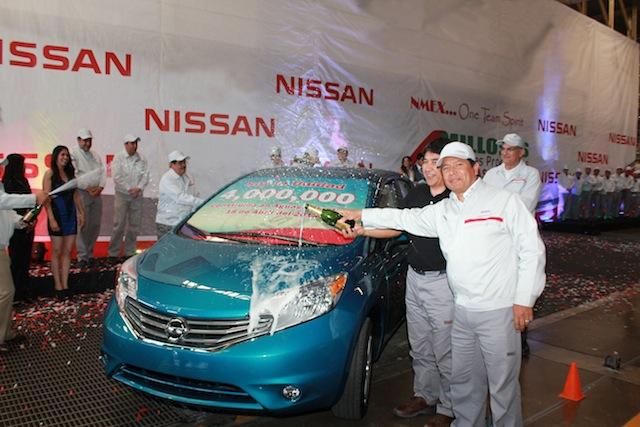 Nissan celebra la producción de su unidad cuatro millones en la planta de Aguascalientes, México