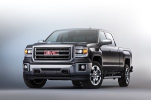 2014 GMC Sierra SLT Crew Cab Front Three Quarter in Iridium Meta