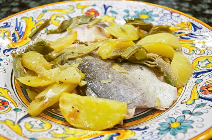 Roasted Fish with Potatoes and Artichokes