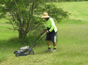 Scott on the lawn mower