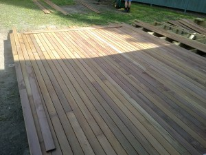 Deck work at Silver Ridge Community Cottage going well.