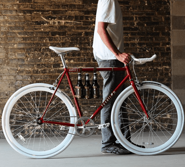 LEATHER SIX PACK BICYCLE CADDY BY FYXATION
