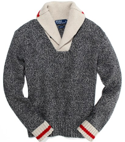 Polo by Ralph Lauren contrast shawl collar at www.Saks.com (via GQ.com)