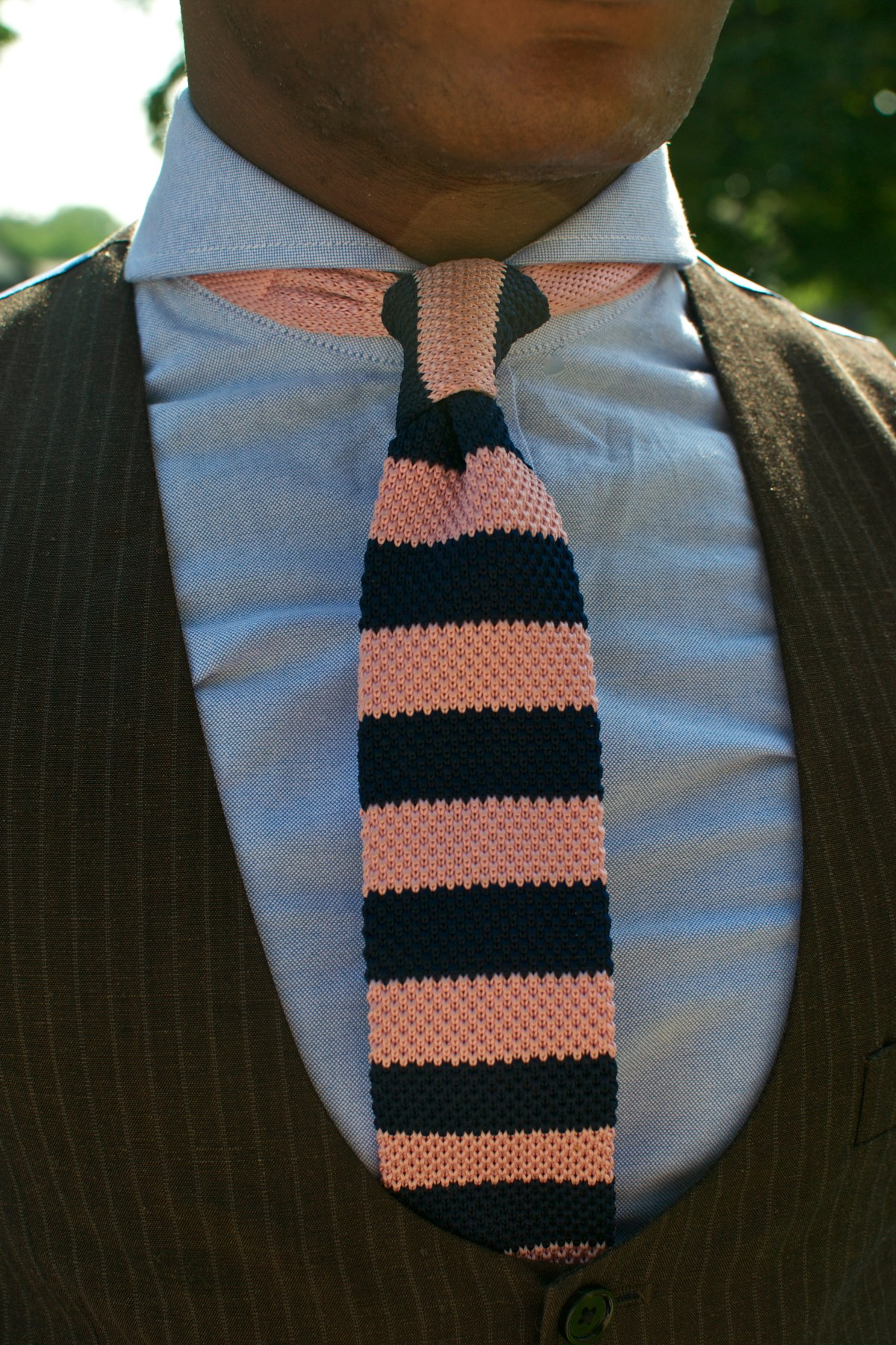 Custom Brown Pinstripe Linen Suit by Indochino