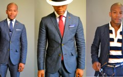 Men's Style Pro x Ted Baker Blue Linen Herringbone Suit