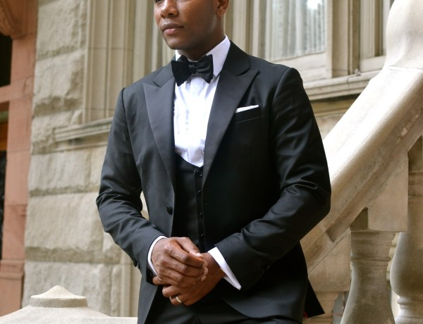 Sabir Peele in Dragon Inside custom Tuxedo