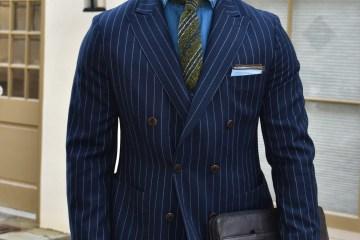 Sabir M. Peele of Men's Style Pro in Oliver Wicks Flannel Chalk Stripe Suit