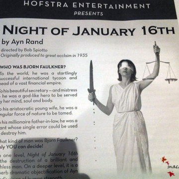 Playbill for Ayn Rand's The Night of January 16th