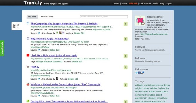 Trunk.ly screenshot