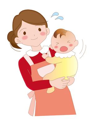 赤ちゃんをあやす母