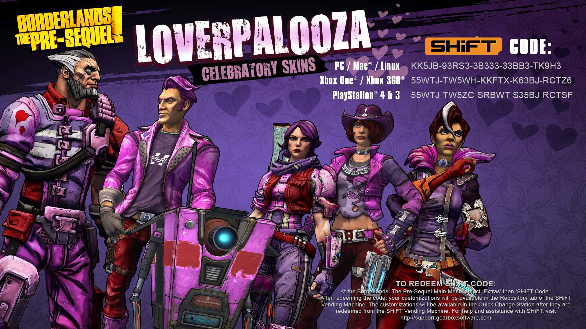 Borderlands The Pre-Sequel LOVERPALOOZA Skins - MentalMars Borderlands The Pre Sequel Shift Codes