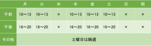 恵比寿山の診療所の診療時間