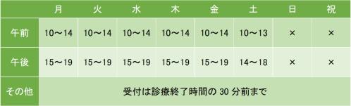 たわらクリニック横浜駅前の診療時間