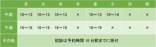 武蔵小山メンタルクリニックの診療時間
