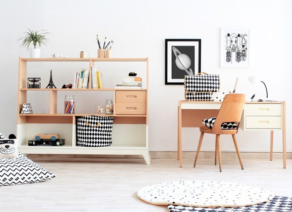 nobodinoz_Horizon White, scrivania e libreria