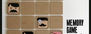 Memory game mustache, un gioco di memoria con i baffi.