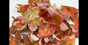 Making fall leaves with my giant Gelli Plate!