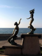 Triton and Nereida mermaid statue