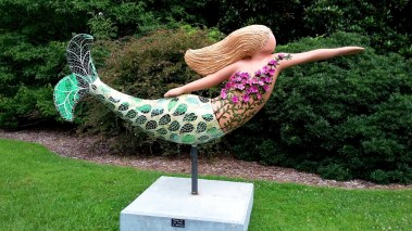 Norfolk custom decorated mermaid sculpture.
