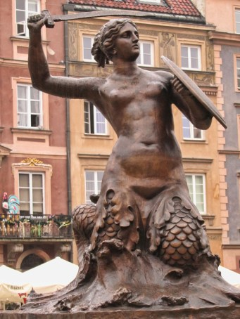 Syrenka Mermaid statue in Warsaw.
