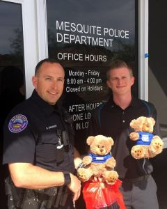 """Andrew Bird with Shelter Insurance dropped by the Mesquite Police Department and gave a large donation of stuffed bears. Patrol officers frequently give stuffed animals to children who are involved in tragic or stressful events. Officer Swanson met with Andrew and accept the stuffed animals. 'Thank you Andrew Bird and Shelter Insurance for such a wonderful donation to our community!"""" Photo submitted."""