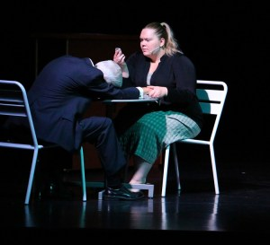 """Paul Benedict is Gordon, the 'Dead Man' in Dead Man's Cell Phone and Jenna Grubb plays Jean.  DMCP will hold their final performances on May 20 and 21 at the Mesquite Community Theatre, 150 N. Yucca St. at 7 p.m.  The show has been censored a bit so far but the May 21 show will not be censored according to Director Teri Nehrenz. The show is rated """"R"""". Photo by Teri Nehrenz"""