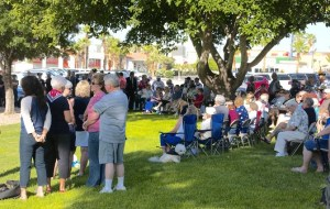 A large crowd attended this year's Memorial Day ceremony at Veteran' Memorial Park.