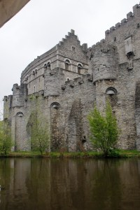 The Gravensteen Castle seen on the bank of the Leie River was built in 1180.
