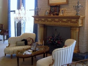The elegant living room in the Newton home.