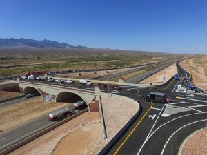 A drone camera gives a bird's eye view of the new I-15 Exit 118 interchange that opened July 21 among much fanfare by local and regional officials. Photo by Kris Zurbus.