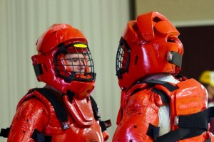 Duane Thurston and Rod Frieling are dressed in the Red Man assailant suits.  They are two of the original instructors of the Mesquite radKids program.  Submitted Photo