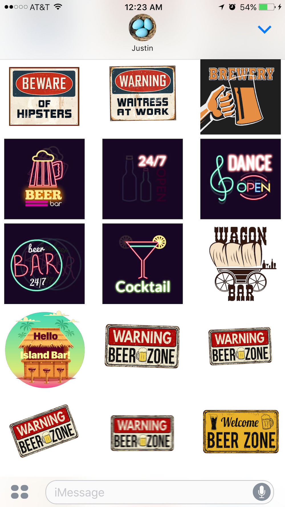 Bar Stickers for iMessages
