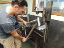 removing tacked frame from jig