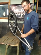 Sean with tacked frame and wheel