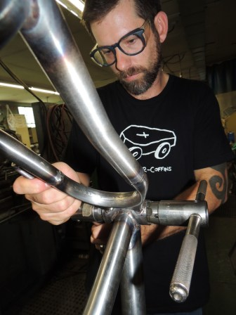 Sean tapping bottom bracket shell