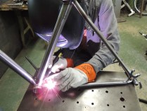Justin welding chain stay bridge 2