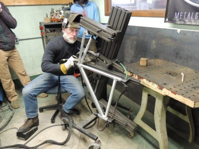 Frank setting up for chain stay tack weld