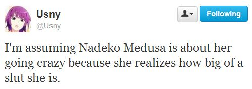 I'm assuming Nadeko Medusa is about her going crazy because she realizes how big of a slut she is.