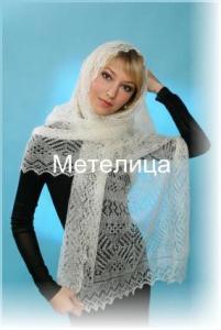 """Оренбургский палантин пуховый -""""шарф"""" белого цвета"""