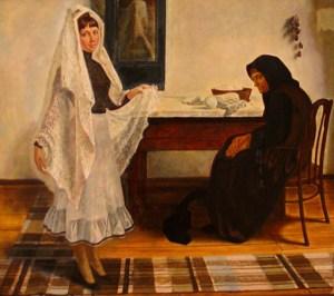 Картина Б. Н. Кузнецова «Оренбургский платок»
