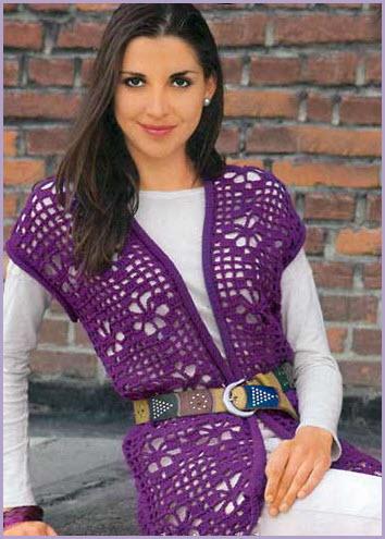 Фиолетовый ажурный жилет