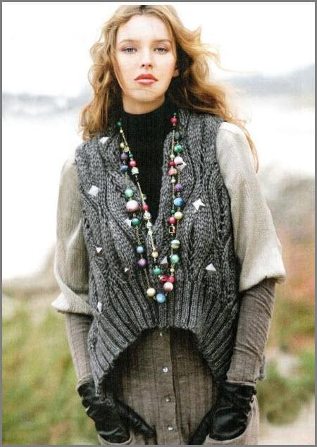 Серый жилет модного силуэта
