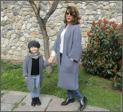 Мама и дочка в кардиганах
