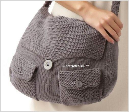 Фото модной вязаной сумки