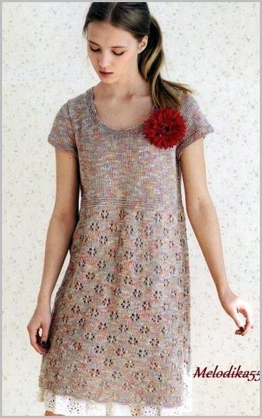 Модная и красивая вязаная туника-платье