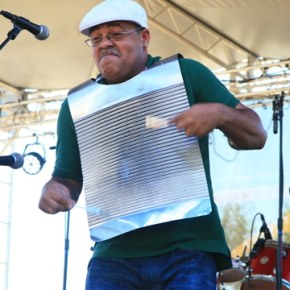Malcolm Walker, with Rosie Ledet and the Zydeco Playboys, turned the humble scrubboard into a veritable torrent of percussion. Photo by Marcy Stamper