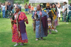 Teena Paul, Mitzi Nanamkin, Gena Redstar, Holly Wilmot and Yajayra Ramirez entered the circle during the grand entry before dancing began. Photo by Laurelle Walsh