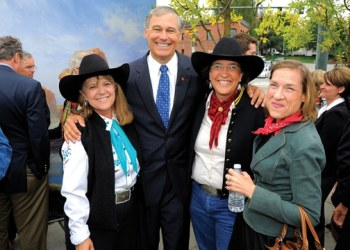 Gov. Jay Inslee with Horse Crazy members Lauralee Northcott, left, Jennifer Epps, center, and friend of the band, Ann van Leynseele, right, at the opening of the Tacoma Art Museum's new wing. Photo courtesy of Lauralee Northcott